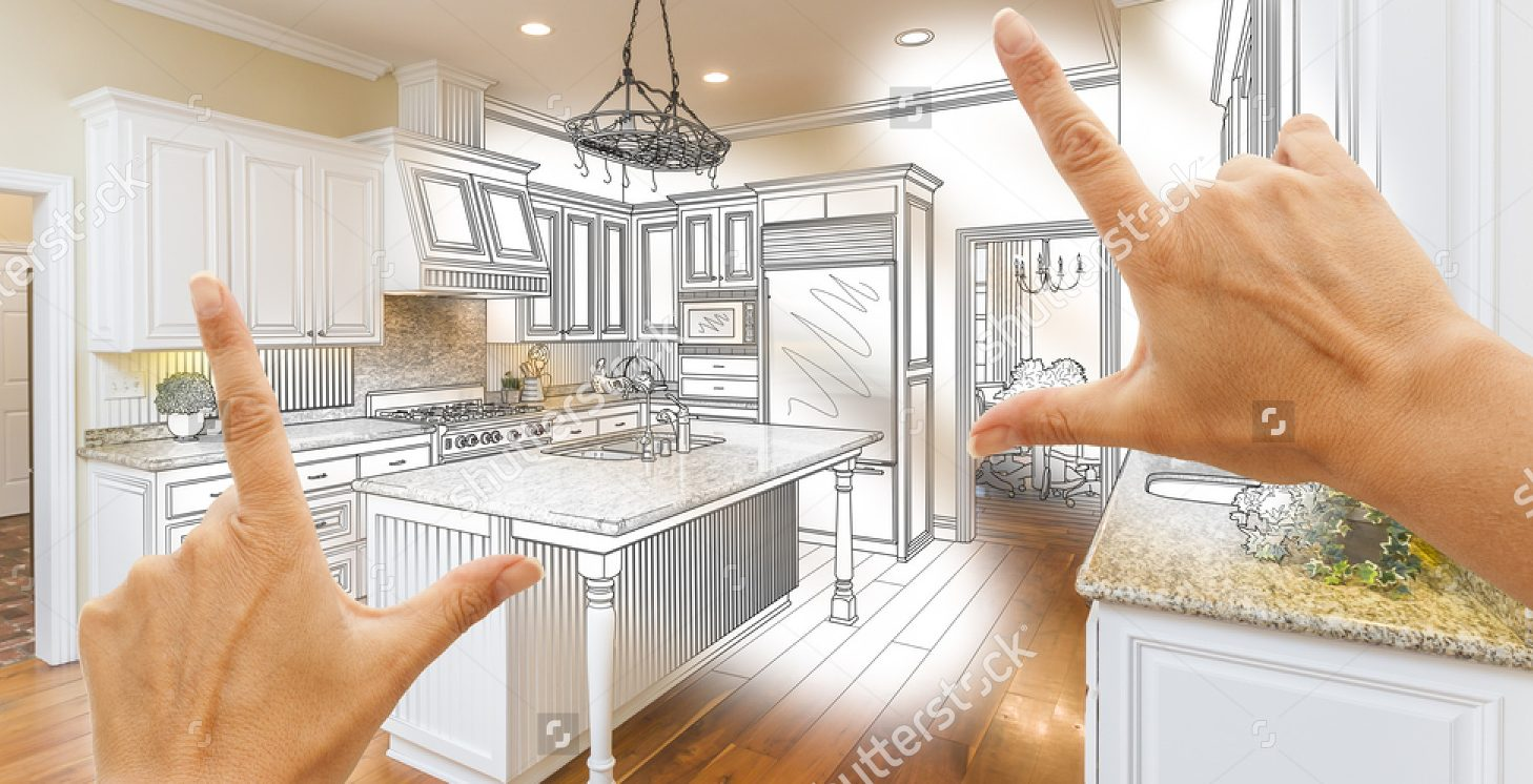 Stock Photo Female Hands Framing Custom Kitchen Design Drawing And Photo Combination 365319446